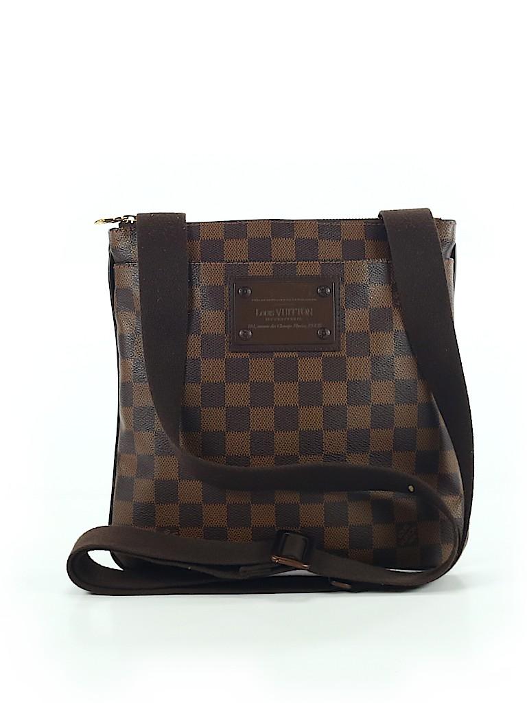 9c3ab0348a4c Louis Vuitton 100% Canvas Checkered Gingham Brown Crossbody Bag One ...