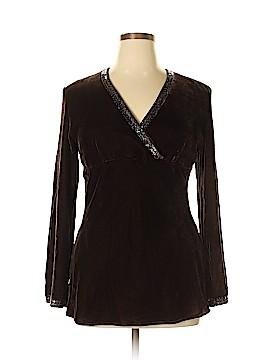 Carole Little Long Sleeve Silk Top Size XL