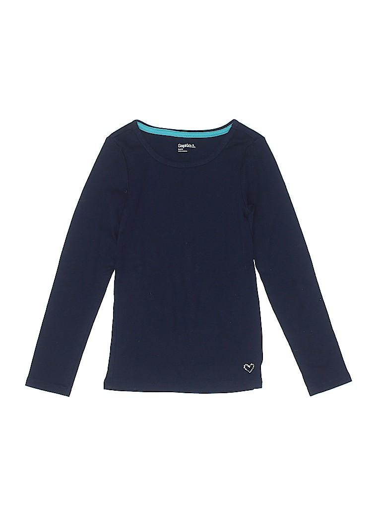 2985c49b908d Gap Kids 100% Cotton Solid Navy Blue Long Sleeve T-Shirt Size 6 - 7 ...