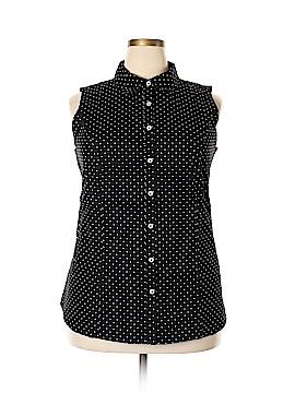 Jessica London Short Sleeve Button-Down Shirt Size 18 (Plus)