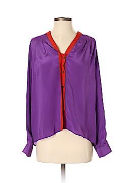 Line & Dot Long Sleeve Silk Top Size S