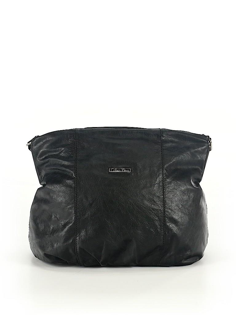 a98c9d3c85 Calvin Klein 100% Leather Solid Black Leather Shoulder Bag One Size ...