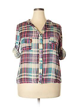 Roommates 3/4 Sleeve Button-Down Shirt Size 1X (Plus)