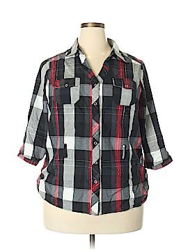 Cotton Emporium 3/4 Sleeve Button-Down Shirt Size 2X (Plus)