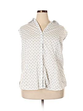 Basic Editions Sleeveless Button-Down Shirt Size 4X (Plus)
