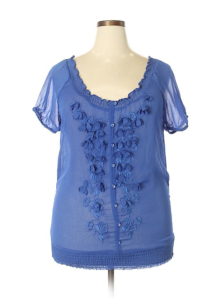 Katia Women Short Sleeve Blouse Size 1X (Plus)