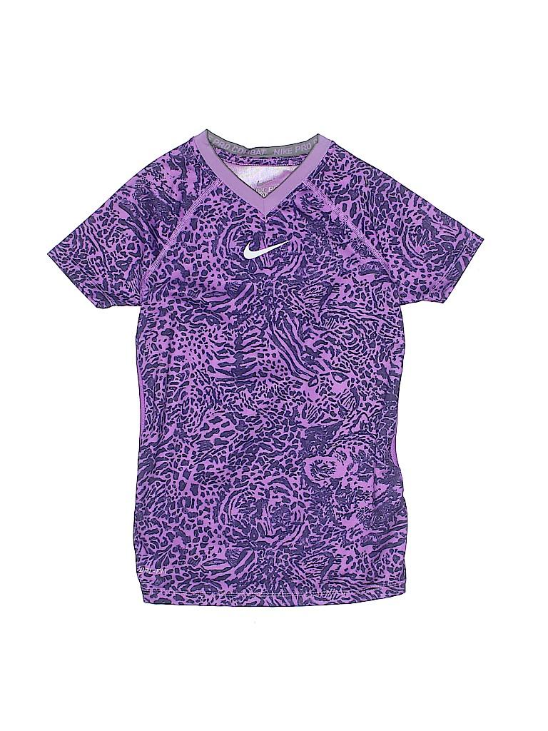 Nike 100 Polyester Animal Print Purple Active T Shirt Size S Kids