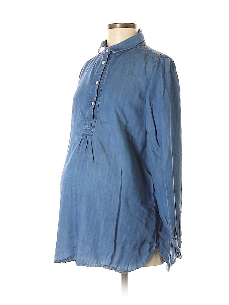 10bb71cc Ann Taylor LOFT Maternity Chambray Dark Blue Long Sleeve Button-Down ...