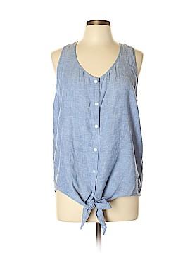 Caslon Sleeveless Button-Down Shirt Size L