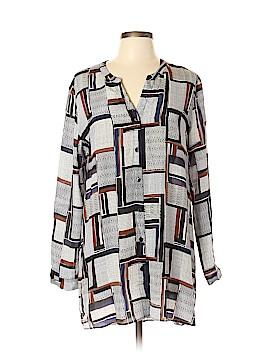 Nic + Zoe Long Sleeve Silk Top Size L