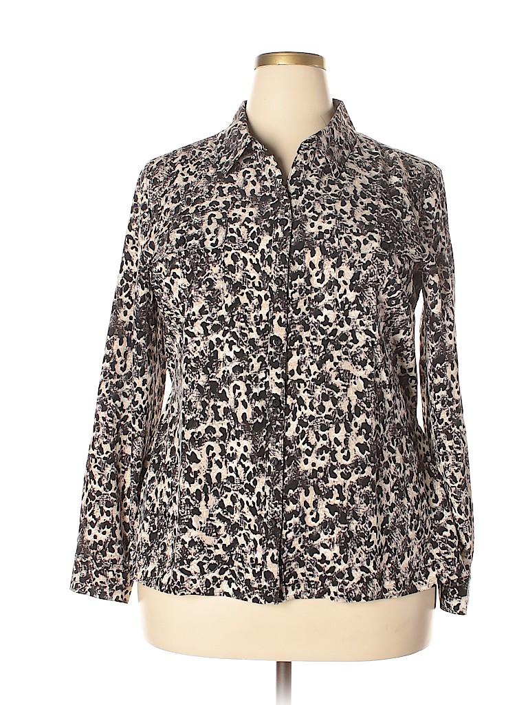 Kim Rogers Women Long Sleeve Button-Down Shirt Size XL