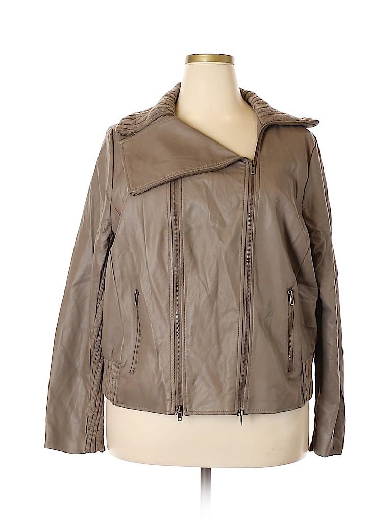 d71985b78d20e Lane Bryant 100% Polyurethane Solid Tan Faux Leather Jacket Size 22 ...