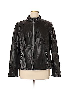 Black Rivet Faux Fur Jacket Size 2X (Plus)