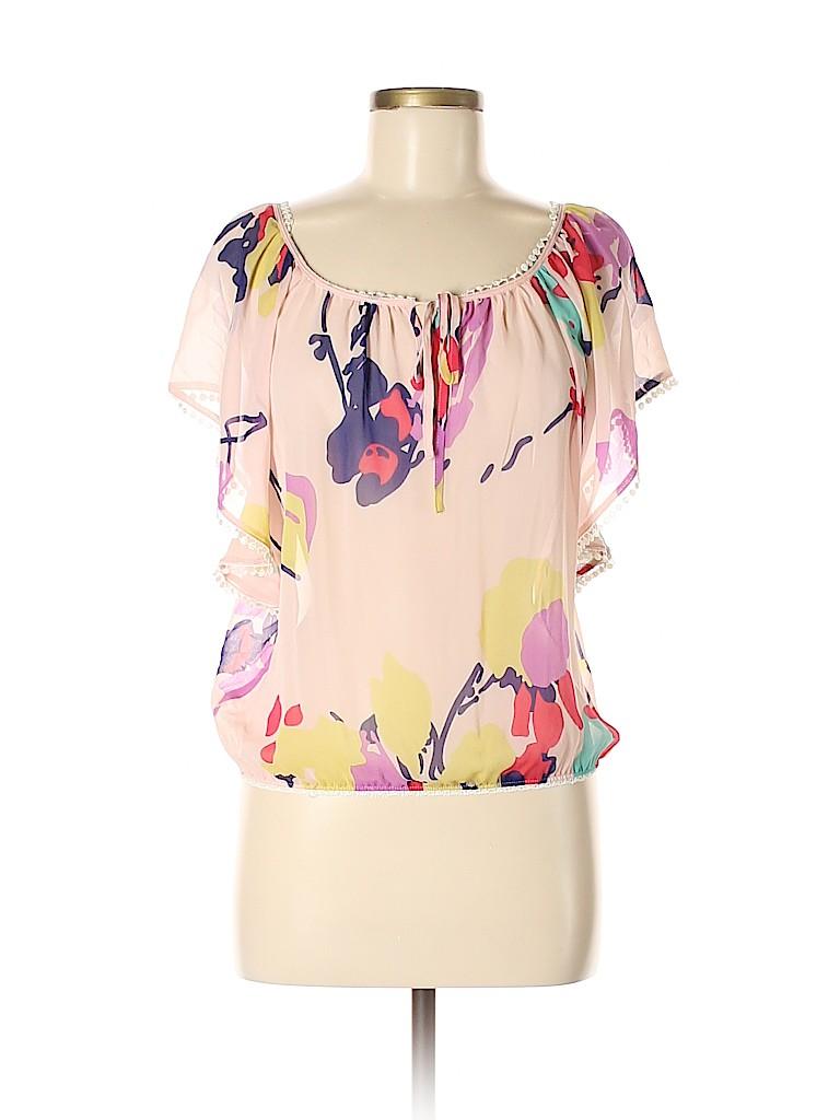 e117be3dfb3d Yumi Kim 100% Silk Print Light Pink Short Sleeve Silk Top Size XS ...