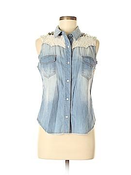 Miss Me Sleeveless Button-Down Shirt Size M