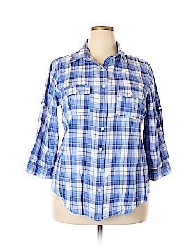 Sandra Ingrish 3/4 Sleeve Button-Down Shirt Size 18 (Plus)
