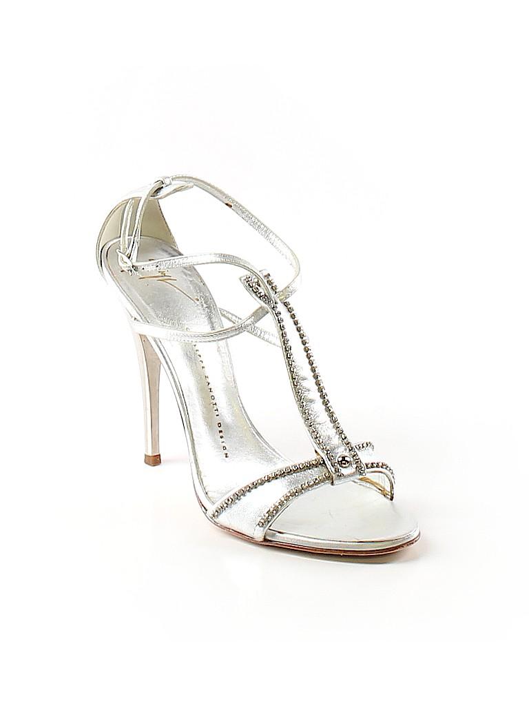 7fb5b24dce6 Giuseppe Zanotti 100% Leather Solid Silver Heels Size 38.5 (EU) - 80 ...