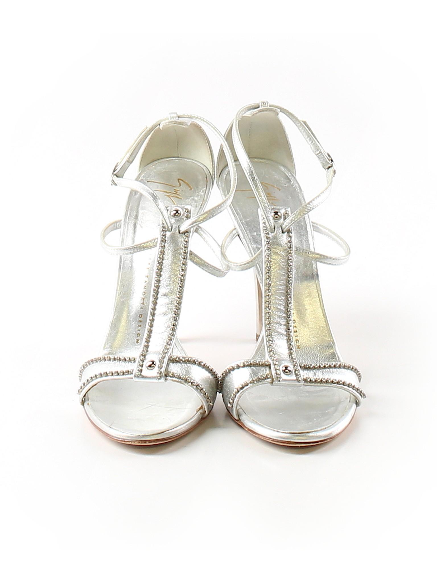 ab10cc787f8 Giuseppe Zanotti 100% Leather Solid Silver Heels Size 38.5 (EU) - 80% off