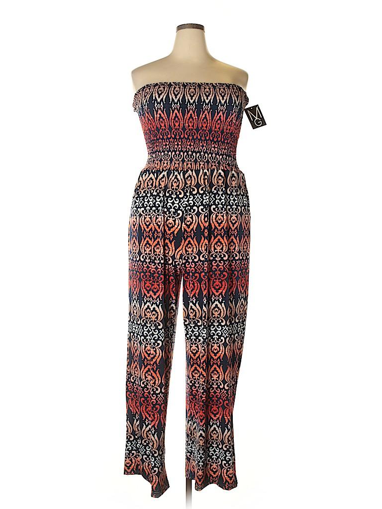 e57a9862bd2 Mlle Gabrielle Print Navy Blue Jumpsuit Size 2X (Plus) - 72% off ...