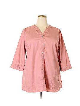 Denim Co 3/4 Sleeve Button-Down Shirt Size 1X (Plus)