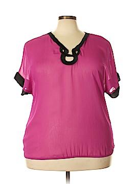 Dots Short Sleeve Blouse Size 3X (Plus)