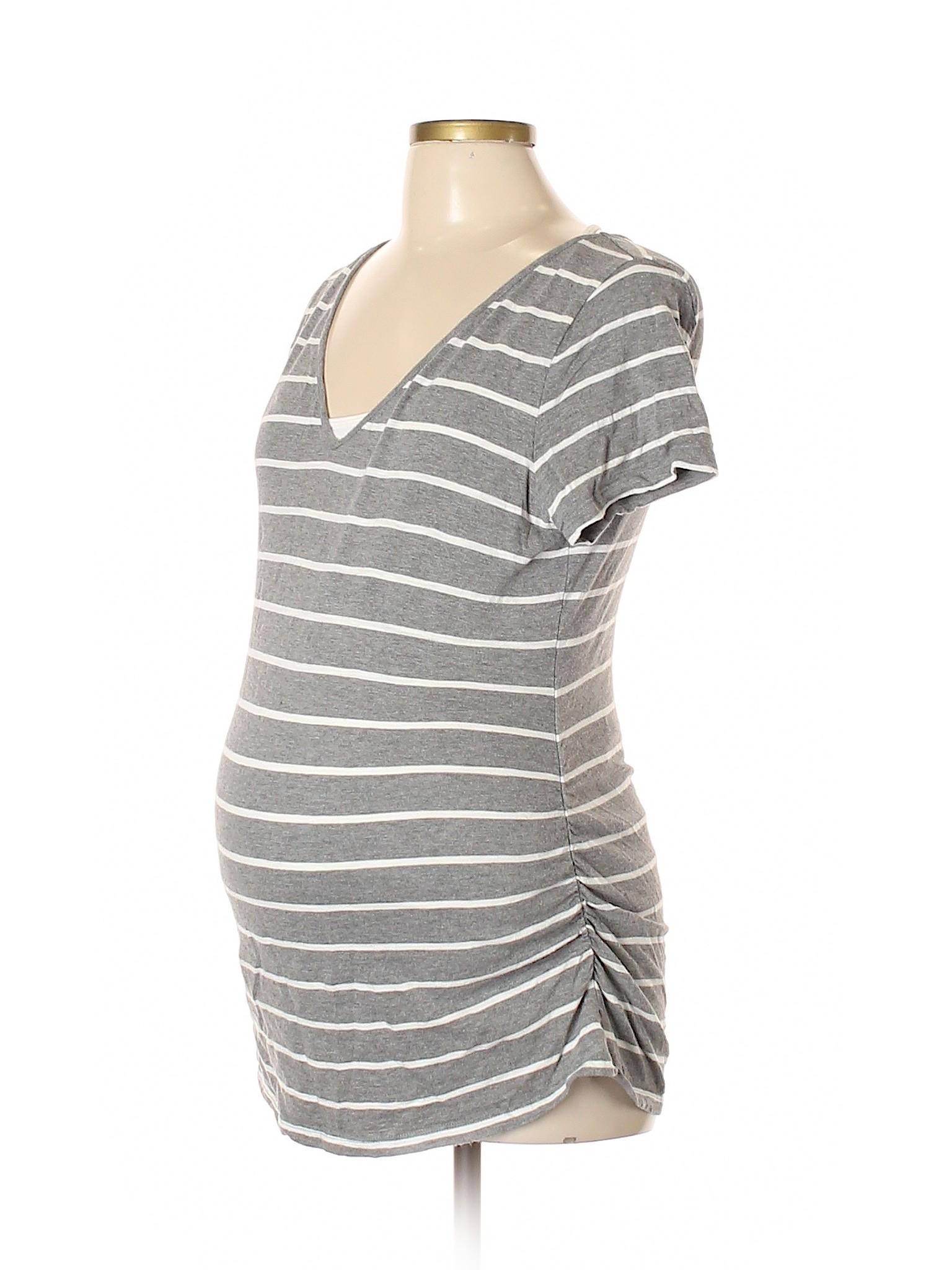 a633693faa5ca Liz Lange Maternity 100% Cotton Stripes Gray Short Sleeve T-Shirt ...