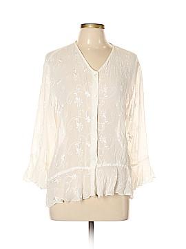 Whitewash 3/4 Sleeve Blouse Size L