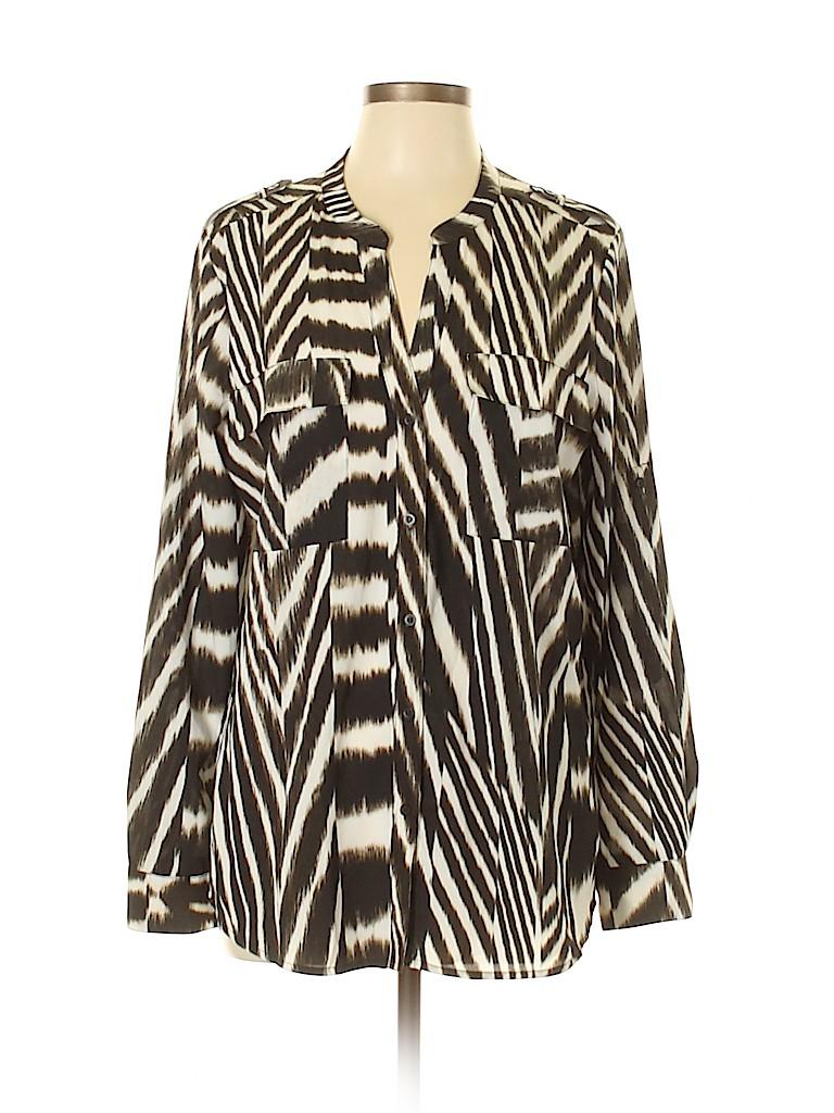 be09626ec5ad Calvin Klein 100% Polyester Animal Print Black Long Sleeve Blouse ...