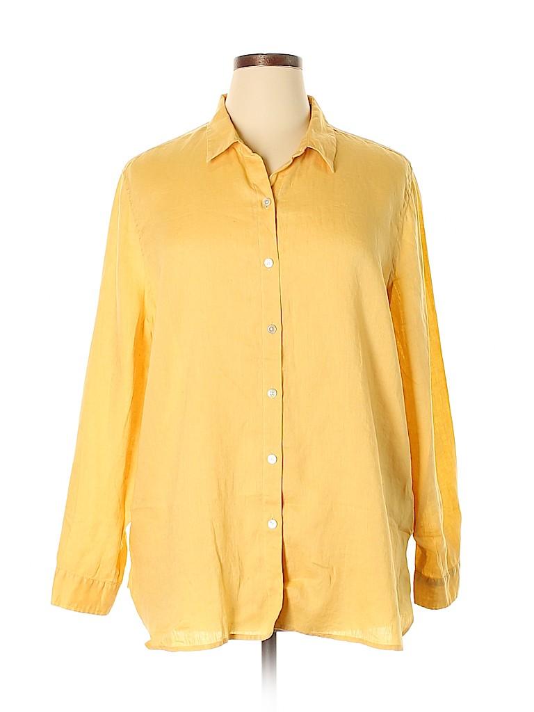 d91833de4d J.jill 100% Linen Solid Dark Yellow Long Sleeve Button-Down Shirt ...