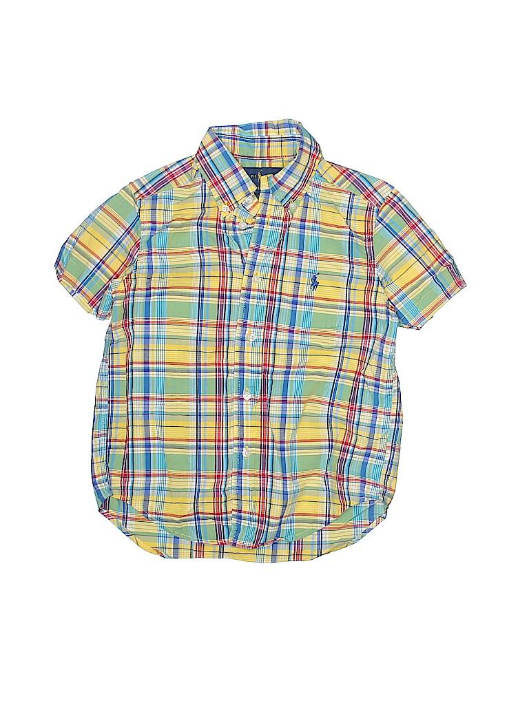 db25ba9fc0c Ralph Lauren 100% Cotton Print Yellow Short Sleeve Button-Down Shirt ...