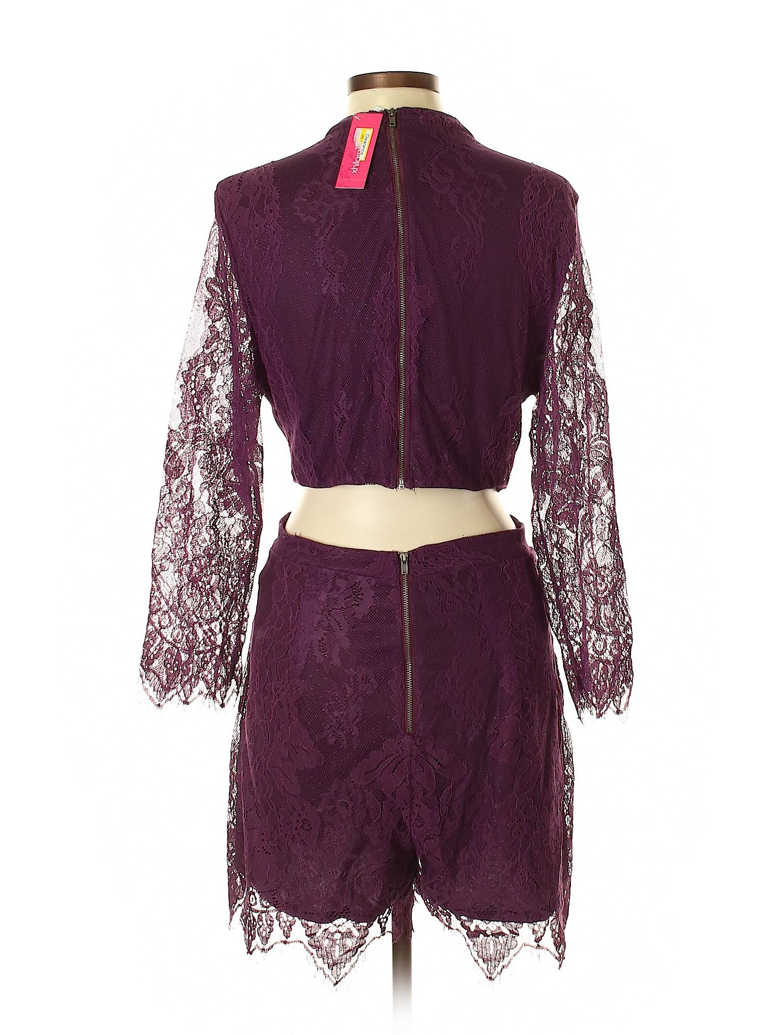 c33f8457dc3 Xhilaration Lace Dark Purple Romper Size L - 57% off