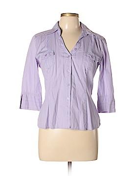BCX 3/4 Sleeve Button-Down Shirt Size L