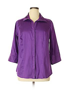 Lane Bryant Outlet 3/4 Sleeve Button-Down Shirt Size 14 (Plus)