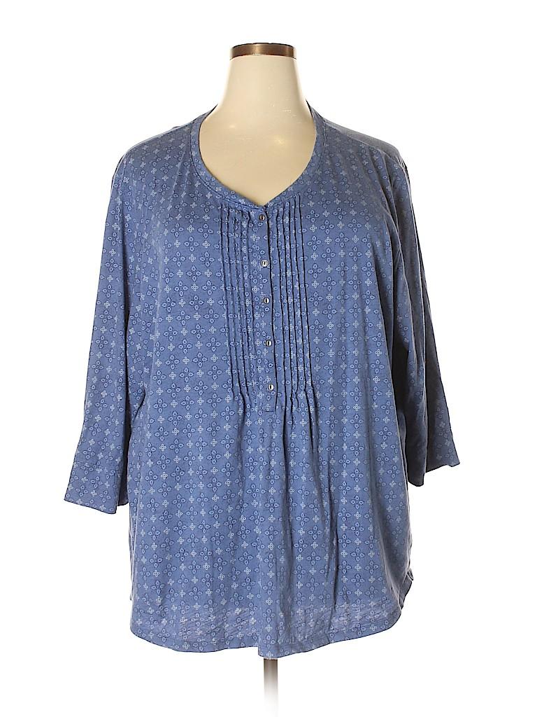 Northcrest Women Long Sleeve Henley Size 4X (Plus)