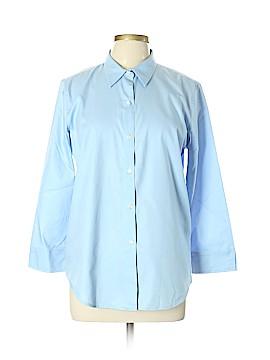 Lizwear by Liz Claiborne 3/4 Sleeve Button-Down Shirt Size L