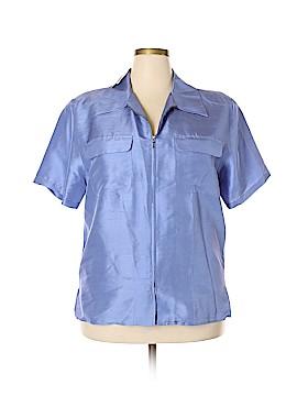 Anne Carson Long Sleeve Silk Top Size 1X (Plus)
