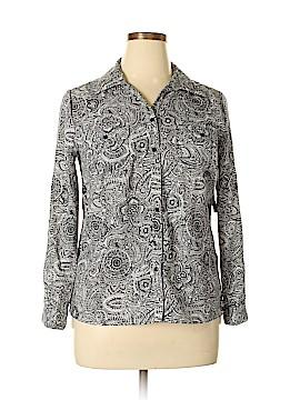 Kim Rogers Long Sleeve Button-Down Shirt Size L (Petite)
