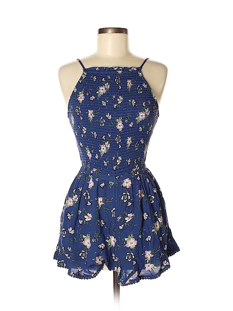 dd00b25dd054 American Eagle Outfitters 100% Viscose Floral Dark Blue Romper Size ...