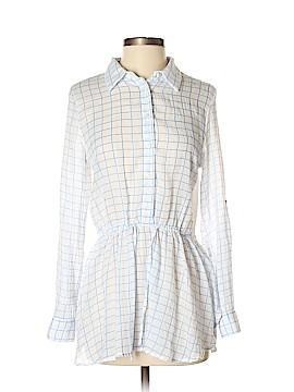 Blue Tassel Long Sleeve Button-Down Shirt Size S