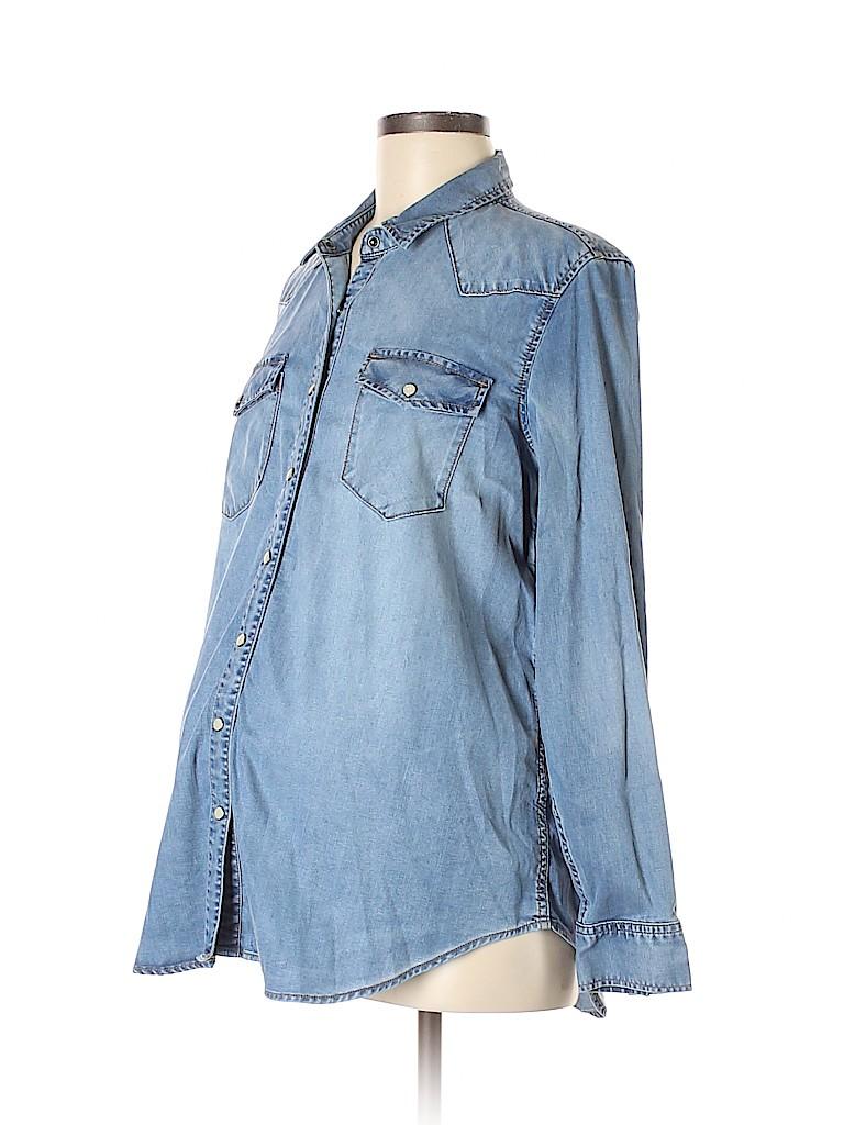 2e16f1c0 Gap - Maternity Chambray Blue Long Sleeve Button-Down Shirt Size M ...