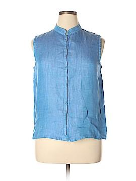Eileen Fisher Sleeveless Button-Down Shirt Size L