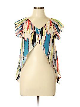 Aaron Ashe Short Sleeve Silk Top Size M