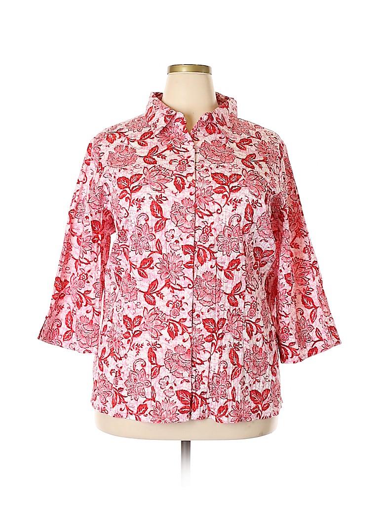 D&Co. Women 3/4 Sleeve Button-Down Shirt Size 2X (Plus)