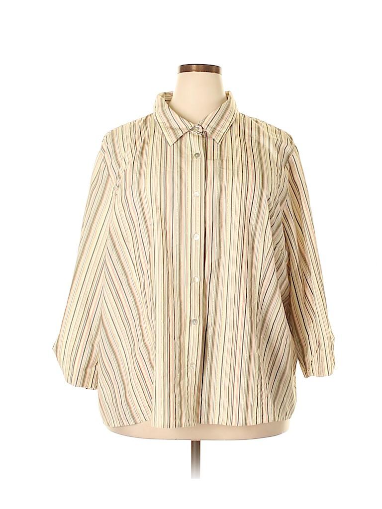 First Issue by Liz Claiborne Women 3/4 Sleeve Button-Down Shirt Size 3X (Plus)
