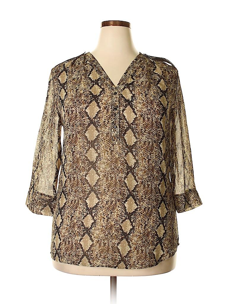 Mix & CO Women 3/4 Sleeve Blouse Size 1X (Plus)