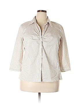 Worthington 3/4 Sleeve Button-Down Shirt Size 1X (Plus)