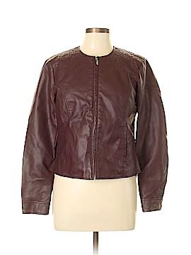 Baccini Faux Leather Jacket Size L (Petite)