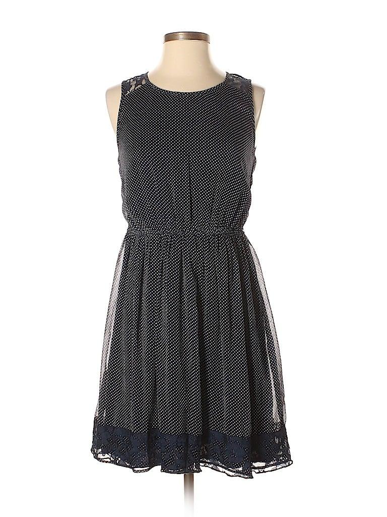 631a4b85 Trafaluc by Zara 100% Polyester Lace Polka Dots Dark Blue Casual ...