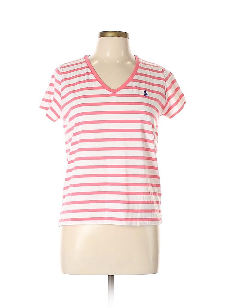 04028f8a256c56 Ralph Lauren 100% Cotton Stripes Pink Short Sleeve T-Shirt Size L ...