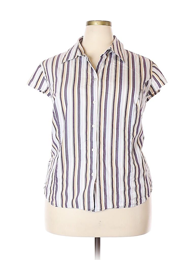 George Women Short Sleeve Button-Down Shirt Size 22 (Plus)